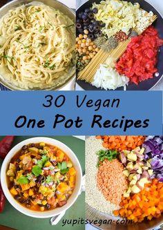 30 receitas vegan um vaso | Um apanhado de 30 receitas vegan que cozinham em apenas uma frigideira ou panela! Massas, sopas, guisados, coze vegetais, e muito mais! Incluindo opções sem glúten e sem grão.