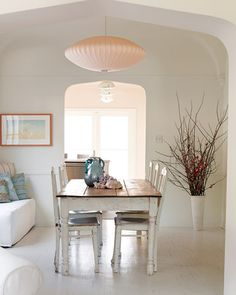"""See the """"The Dining Room"""" in our Spanish-Style Home gallery White Painted Wood Floors, Wood Floor Kitchen, Kitchen Dining, Dining Table, Dining Area, Floors Kitchen, Kitchen Tables, Shabby Chic Dining, Spanish Style Homes"""