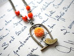 Bird Pendant Necklace Bird Cage Pendant Orange by elinacreations, $17.00