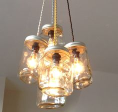 Jam jar upcycled chandelier from the great interior design challenge #upcycle #recycle #reuse
