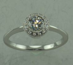 Diamond Halo Engagement Ring  LCR031 by LetisiasCorner on Etsy, $699.00