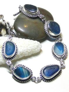 Beautiful blues ultra rare sea glass bezel bracelet