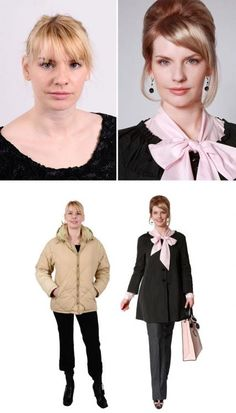 Russian image-designer Konstantin Bogomolov has opened an Image School in Riga, Latvia where he performs incredible style makeovers for women of all ages. Beauty Makeover, Extreme Makeover, Winter Coats Women, Coats For Women, Russian Image, Outfits Tipps, Real Queens, Mein Style, 60 Fashion