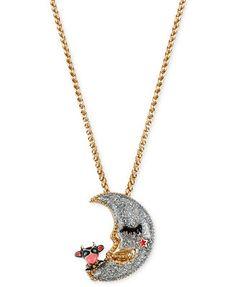 Betsey Johnson Gold-Tone Moon Pendant Necklace