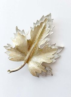 Vintage Sarah Coventry Leaf Brooch Gold Silver by BiMiDesign
