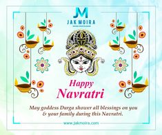 May goddess Durga shower all blessings on you & your family during this Navratri. Happy Navratri - Team JAK Moira www.jakmoira.com #HappyNavratri #JakMoira #Success #Business #Training #Flight2Success #DigitalMarketing Navratri Messages, Happy Navratri, Durga Goddess, Blessings, Digital Marketing, Blessed, Playing Cards, Success, Training