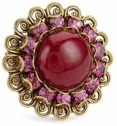 "$45.00 Liz Palacios ""Piedras"" Red Swarovski Crystal and Cabochon Ring  From Liz Palacios   Get it here: http://astore.amazon.com/ffiilliipp-20/detail/B004I44W1M/179-0808482-4619707"