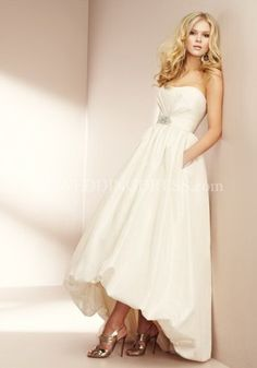 A-Line Strapless Empire Floor Length Chapel Wedding Dress 1501
