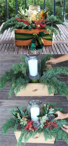 Beautiful & Free DIY Christmas Centerpiece DIY Christmas table decorations centerpiece for almost free! Easy tutorial & video on how to make a beautiful Christmas centerpiece as decor & gifts in 10 minutes! A Piece of Rainbow Noel Christmas, Outdoor Christmas, Rustic Christmas, Winter Christmas, Christmas Wreaths, Christmas Ornaments, Christmas Ideas, Christmas Movies, Christmas Music