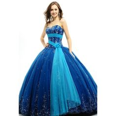 Quinceanera dress. dresses ❤ liked on Polyvore featuring dresses, pin dress, blue prom dresses, blue dress and prom dresses