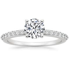 THE PERFECT RING!!!!!!   PRESET 18K WHITE GOLD PETITE SHARED PRONG DIAMOND RING (1/4 CT. TW.) WITH 3/4 CARAT ROUND DIAMOND $4,240
