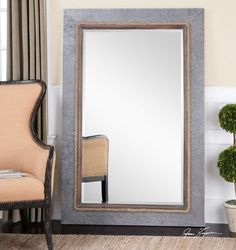 "Elegant 61"" x  41"" Coastal Gray Wall Mirror My Swanky Home $437.80"