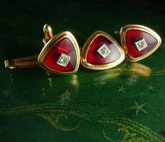 Red Gold diamond cufflinks & Tie Clip Vintage by NeatstuffAntiques