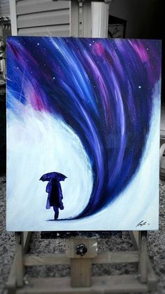 Surrealism, surreal painting, silhouette painting, umbrella painting, space painting, galaxy painting, abstract painting, original painting, galaxy canvas painting