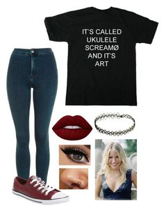 """""""Untitled #1296"""" by dancingblonde ❤ liked on Polyvore featuring Topshop, Converse, Lime Crime and Slet"""