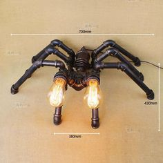 Novelty Machine Age Pipe Steampunk Spider Double Light Retr Table / Desk Lamp