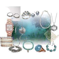 Soft summer jewelry.  A fashion look from June 2012 featuring fossil earrings, Michael Kors and beaded jewelry.