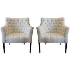 1940s tufted chairs, reupholstered in linen