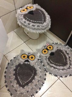 Especialidade em croche: Jogo de Banheiro Corujas