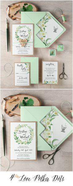 Jasmin flowers Spring wedding invitation 4lovepolkadots #sponsored