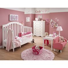 Covington 4-In-1 Convertible Crib  baby girl nursery in pink and white. Love that little pink couch..too cute!
