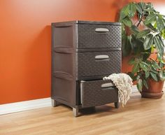 Plastic Storage Bins With 3 Drawers Stackable Dresser Space Saver Organizer Unit #STERILITE