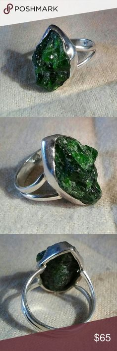 Raw emerald sterling silver ring size 6.5 EUC Jewelry Rings