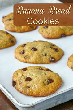 Banana Bread Cookies. A soft cookie with a cake-like texture that's so easy to make and with the bonus of added chocolate chips. Maybe the best use for ripe bananas yet!