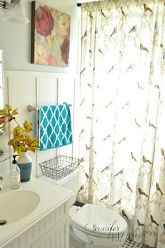 bathroom with touches of color painted Martha Stewart Dolphin Gray