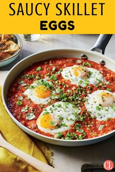 If you've ever had Italian eggs in purgatory, this recipe makes a similar Israeli breakfast dish called shakshuka. If you need to stretch the meal, simply add another egg to the pan. Top with any herb, such as cilantro, chives, or oregano. | Cooking Light