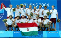 2004 in Athens - Athén - The Hungarian waterpolo team with coach Dénes Kemény. They won 3 Olympic Gold in a row in 2000, 2004, 2008. - The 8th Olympic gold medal of the Hungarian water polo team