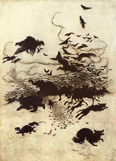 "From 'The Wren and the Bear'. ""Grimm's Fairy Tales"" illustrated by Arthur Rackham, 1909"