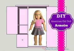 This American Girl Doll Storage Armoire is an easy build. Building time is cut… American Girl House, American Girl Crafts, Doll Crafts, Diy Doll, Girl Doll Clothes, Girl Dolls, Ag Dolls, Doll Storage, American Girl Furniture