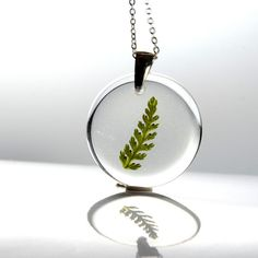 Resin Necklace with Green Fern flower in resin  by Beautiful2u, $22.00