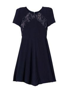 Oxygen | Rebecca Taylor Crepe and Lace Dress Smokey Blue