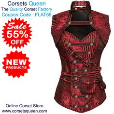 3c3d1b06e13 Judi Red  Steampunk  Corset With Red  Removable Pouch