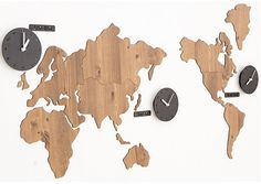 Wooden World Map with 3 country clocks Puzzle assemble decor world time diy Large wall globe maps wood countries unique Style analog design