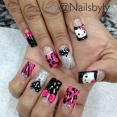 #hellotkittynails#nailart#naildesign#nails#hellokitty Cat Nails, Coffin Nails, Acrylic Nails, Acrylics, Dope Nails, Hello Kitty, Nail Designs, Hair Beauty, Make Up