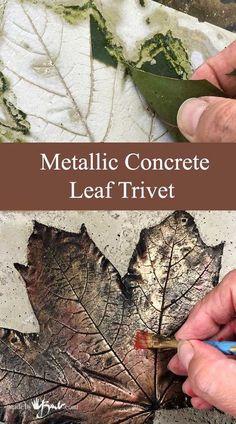 Metallic Concrete Leaf Trivet - Made By Barb - Cast real leaf easy quick project & metallic paint (With images) Cement Art, Painting Concrete, Concrete Crafts, Concrete Art, Concrete Projects, Concrete Garden, Concrete Design, Concrete Planters, Concrete Furniture