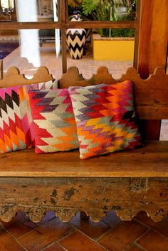 Navajo Print Pillows. These are great! And I love that bench!