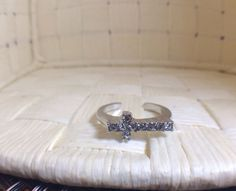 Knuckle Ring Silver Cross with Crystals Size 4 on Etsy, $4.97