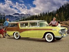 """1956 AMC Nash Rambler Cross Country Station Wagon. Ramblers were completely redesigned in 1956 and would not be completely overhauled again until 1963 for the longer wheelbase models. Among the innovations was the tailgate window which could be lowered with a window crank. This dispensed with the awkward """"liftgate"""" and would be quickly copied and adopted by the Big Three. [pr]"""