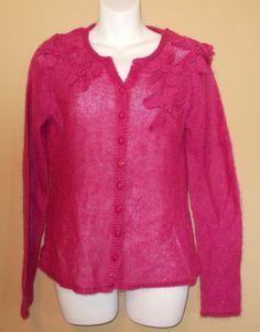 Oscar De La Renta Pink Sparkly Sweater Cardigan Bows Ramie Mohair Size Medium