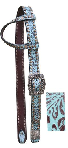 Showman Teal Belt Style Headstall with Filigree Print | ChickSaddlery.com