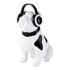 Statuette chien noir/blanc H 33 cm BULLDOG ROCK