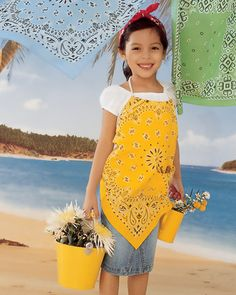 """Bandana Clothing Crafts from Martha Stewart """"Kids"""" mag. Make these carefree days even sunnier by creating fun-to-wear children's play-clothes out of colorful bandannas. The six projects here are easy for anyone with basic sewing skills. Sewing Projects For Kids, Sewing For Kids, Sewing Crafts, Sewing Ideas, Bandana Crafts, Bandana Ideas, Bandana Top, Bandana Print, Diy Vetement"""