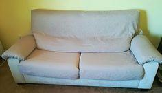 """Funda de sofá 3 plazas con asientos extensibles a medida 5 rectángulos que se cosen y adaptan por piezas y sobre el sofa, siguiéndo las instrucciones del canal de Youtube de """"María Hernandez mis cositas"""""""