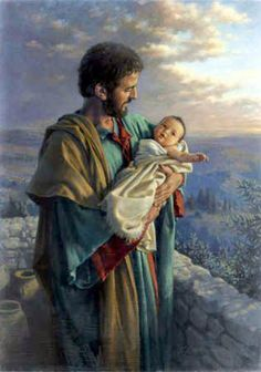 Artist Kathy Lawrence - St Joseph and the child Jesus Catholic Art, Catholic Saints, Religious Art, St Joseph Catholic, Bible Pictures, Jesus Pictures, Lds Art, Bible Art, Biblical Art