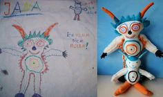 childsown.com... Send in something your child drew and they will turn it into a plush toy! This is amazing.