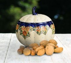 Pumpkin container. Unique decoration number DU83. Hand-painted and signed by the artist.